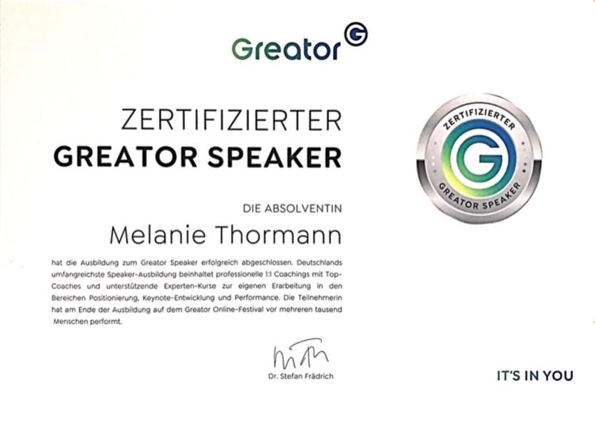 Zertifikat Greator